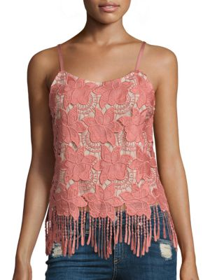 ALICE AND OLIVIA 'Waverly' Fringe Hem Floral Lace Camisole at Saks Fifth Avenue