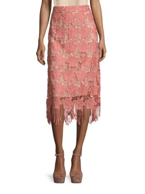 ALICE AND OLIVIA Floral Guipure Lace Pencil Skirt, Pink/White, Multi