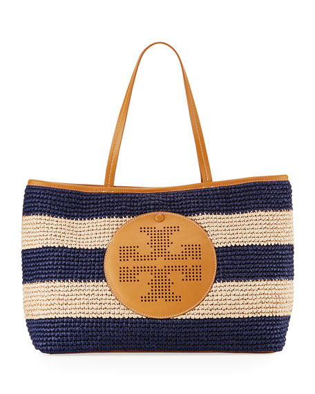 TORY BURCH Straw Perforated Logo Tote Bag, Tory Navy/Natural at Neiman Marcus
