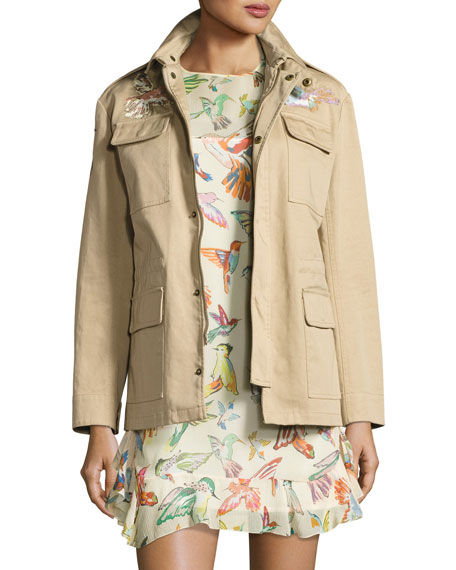 RED VALENTINO Embroidered Military Jacket, Black in Sand