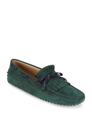 TOD'S Fringed Suede Tie Moccasins in Green