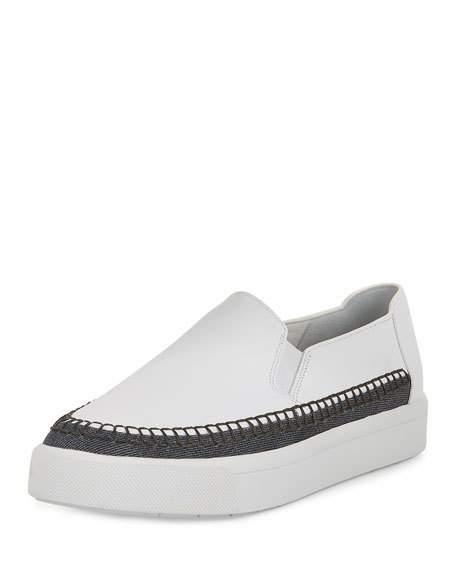VINCE Bates Leather & Denim Slip-On Sneaker, Plaster/Dark Navy, Plast/Dkdn