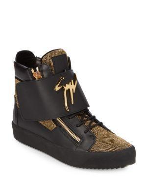 GIUSEPPE ZANOTTI Leather Metallic Nailheads High-Top Sneakers in Nero