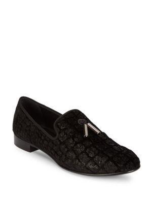 GIUSEPPE ZANOTTI Silk Printed Loafers in Nero