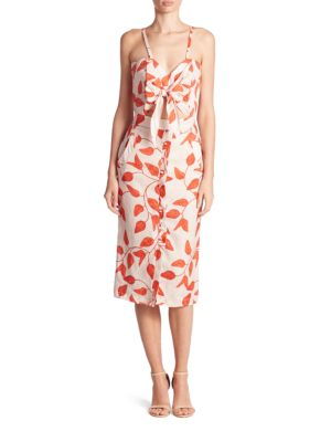 JOHANNA ORTIZ Leaf-Print Linen Tie-Front Cami Dress, Red/White at Saks Fifth Avenue