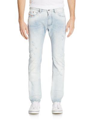 DIESEL Slim-Fit Distressed Straight-Leg Jeans in Denim