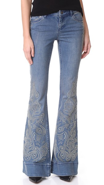 ALICE AND OLIVIA Studded Detail Flared Jeans in Vintage Wash