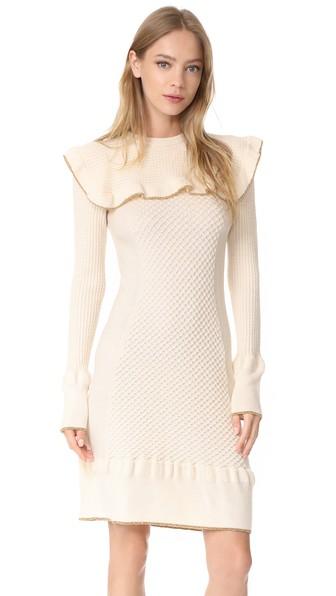 PHILOSOPHY DI LORENZO SERAFINI Ruffle Dress in Ivory