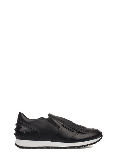 TOD'S 20Mm Fringed Leather Slip-On Sneakers, Black at Italist.com