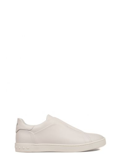 TOD'S White Slip On Leather Sneakers