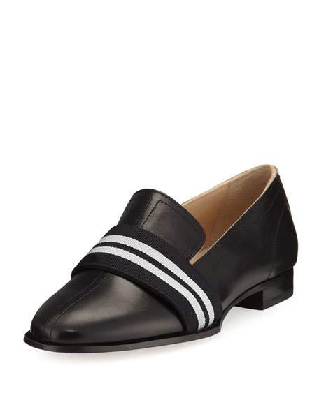 RAG & BONE Amber Striped-Web Leather Loafer, Black at Neiman Marcus
