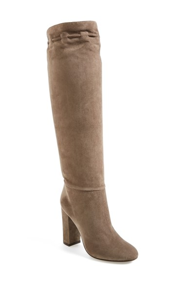 LANVIN Knee High Suede Boots In Mastic at Nordstrom