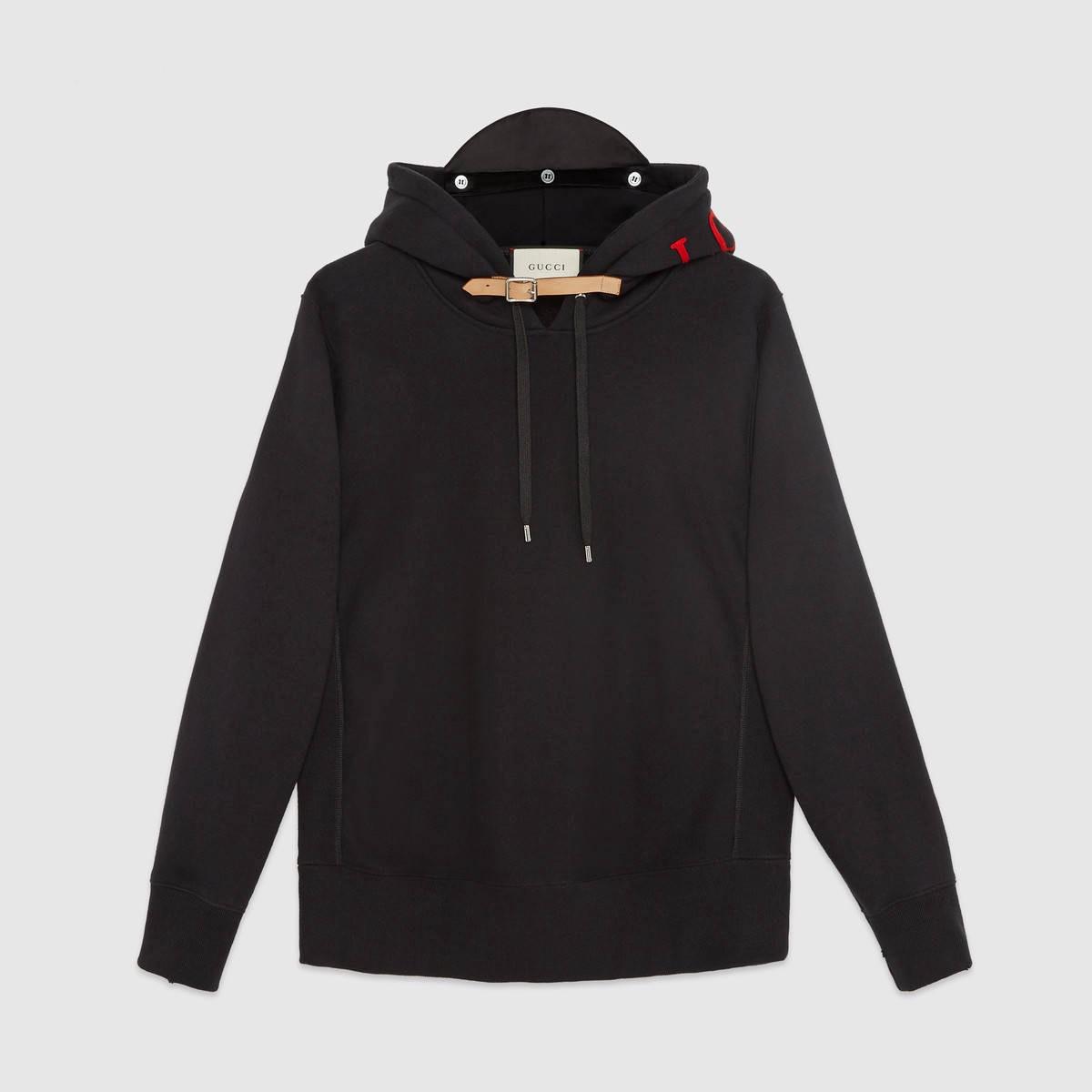 GUCCI Cotton Sweatshirt With Appliqués - Black Cotton