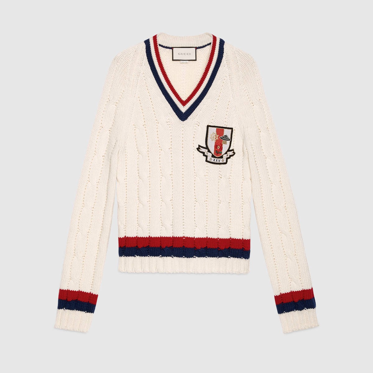 GUCCI Wool Cable-Knit Sweater With Crest - White Wool in White Wool