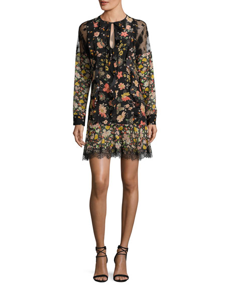 RED VALENTINO Split-Neck Long-Sleeve Floral-Print Ruffle Lace Dress, Multi Pattern at Neiman Marcus