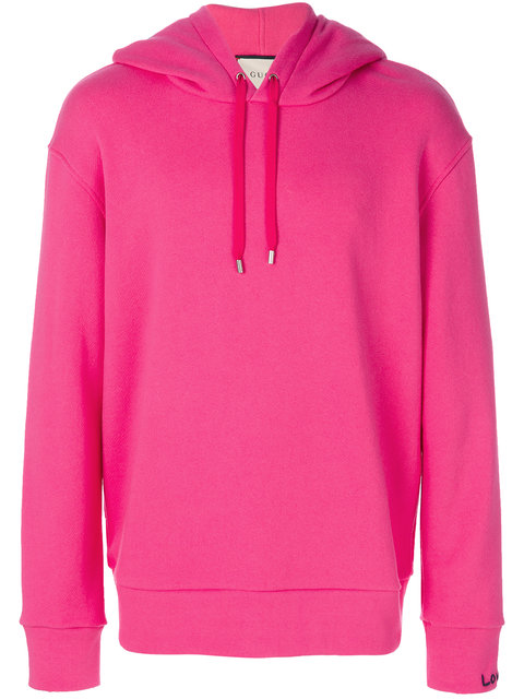 GUCCI Bead-Embellished Hooded Cotton Sweatshirt in Pink Cotton