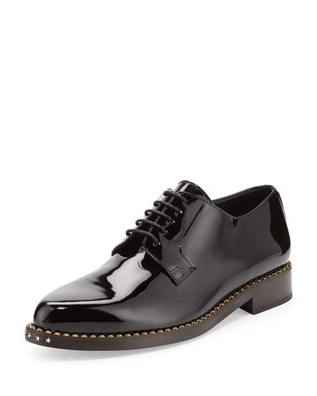 JIMMY CHOO Miles Patent Star-Stud Derby Shoe