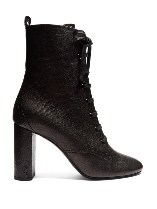 SAINT LAURENT Loulou Lace-Up Grained-Leather Ankle Boots in Colour: Black