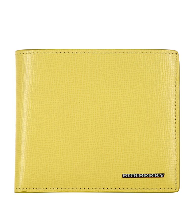 BURBERRY Bi-Fold Leather Wallet in Yellow