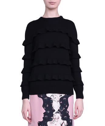 VIVETTA Ruffled Wool Sweater in Nero