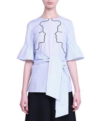 VIVETTA Port Pire Popelin Cotton Shirt in Azzurro