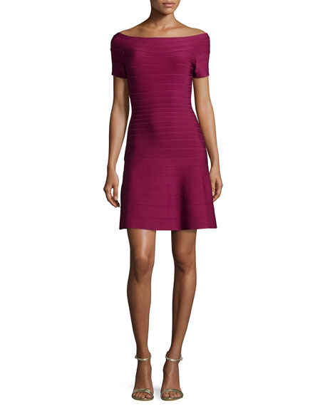 HERVE LEGER Short-Sleeve Bateau-Neck Bandage Dress, Raspberry