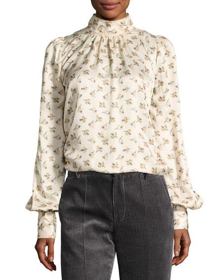 MARC JACOBS Floral Silk Charmeuse High-Neck Top, Cream