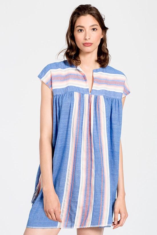 LEMLEM Elsi Short Caftan Dress in Blue