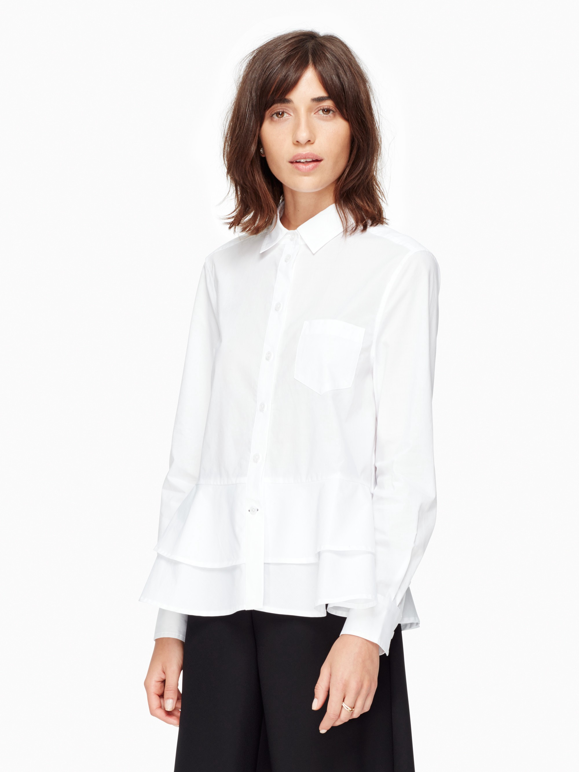 KATE SPADE Poplin Ruffle Shirt in Fresh White