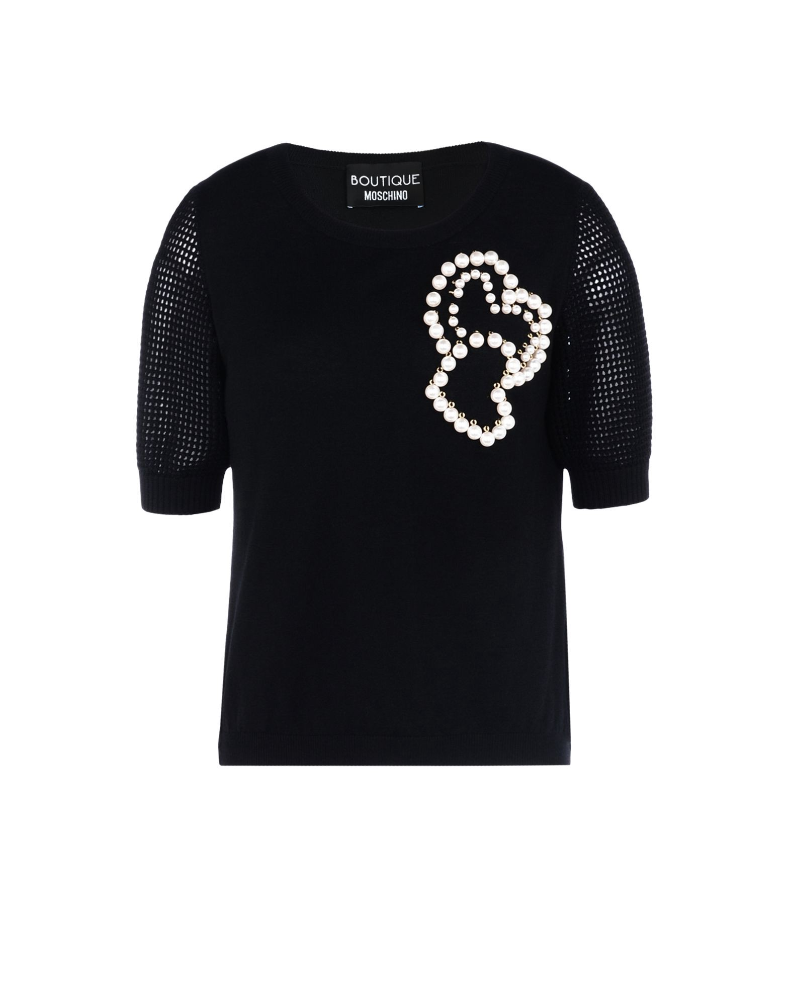 MOSCHINO Boutique  Short Sleeve Sweater in Black