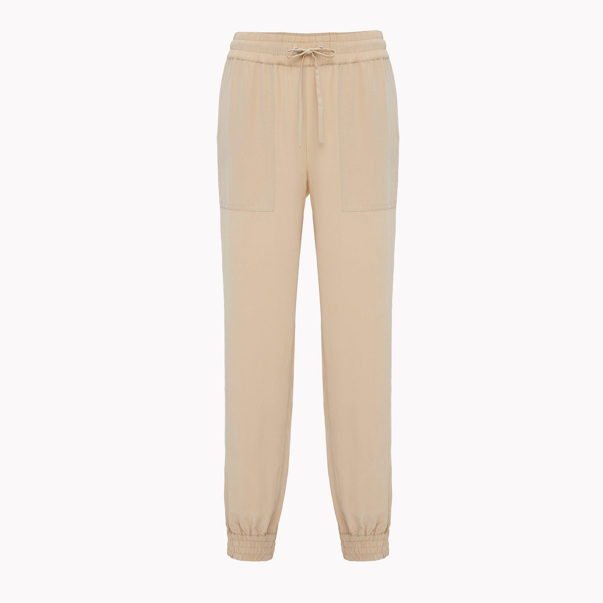 THEORY Silk Utility Pant - Light Barley