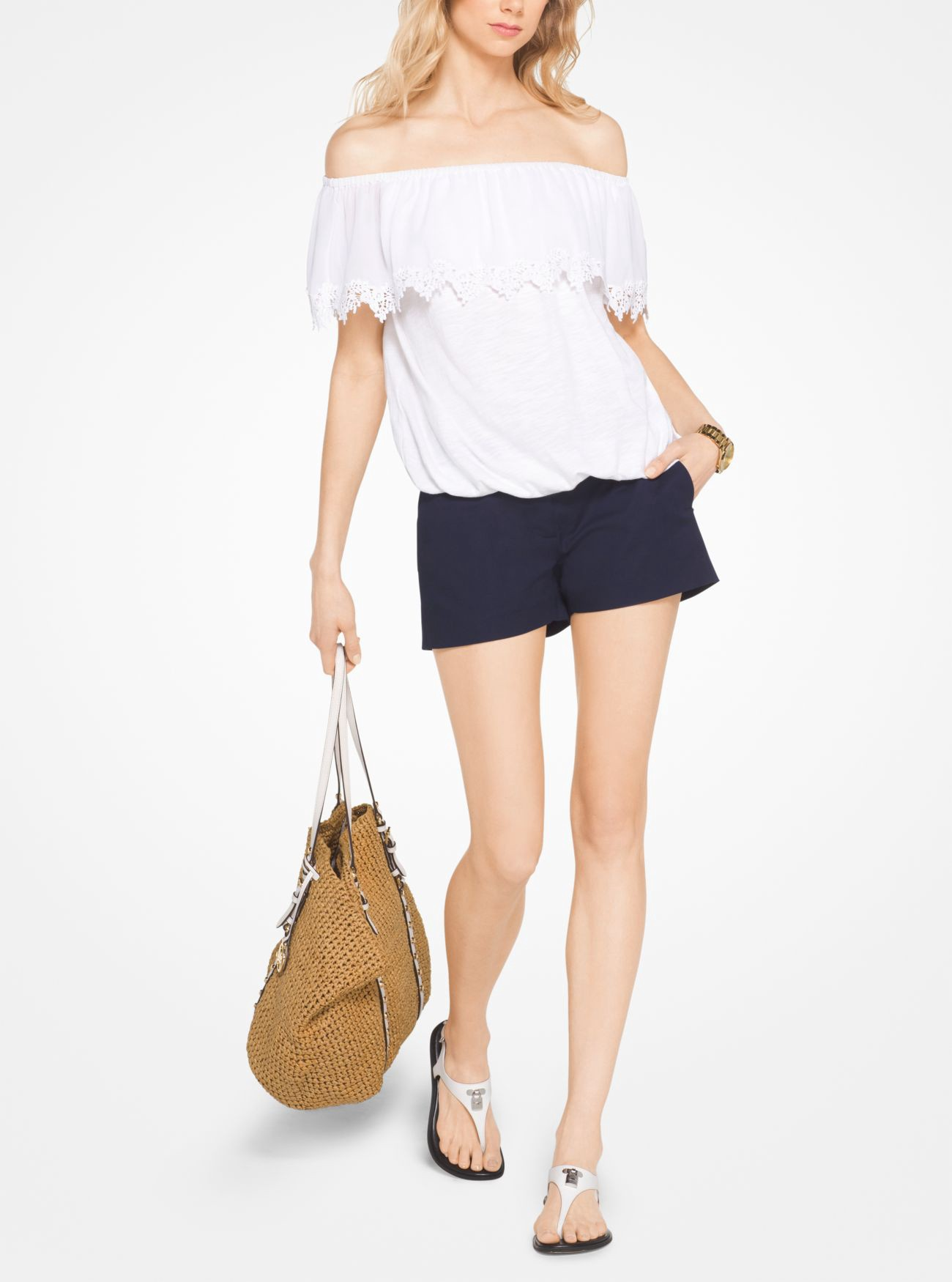 MICHAEL KORS Cotton Off-The-Shoulder Top in White