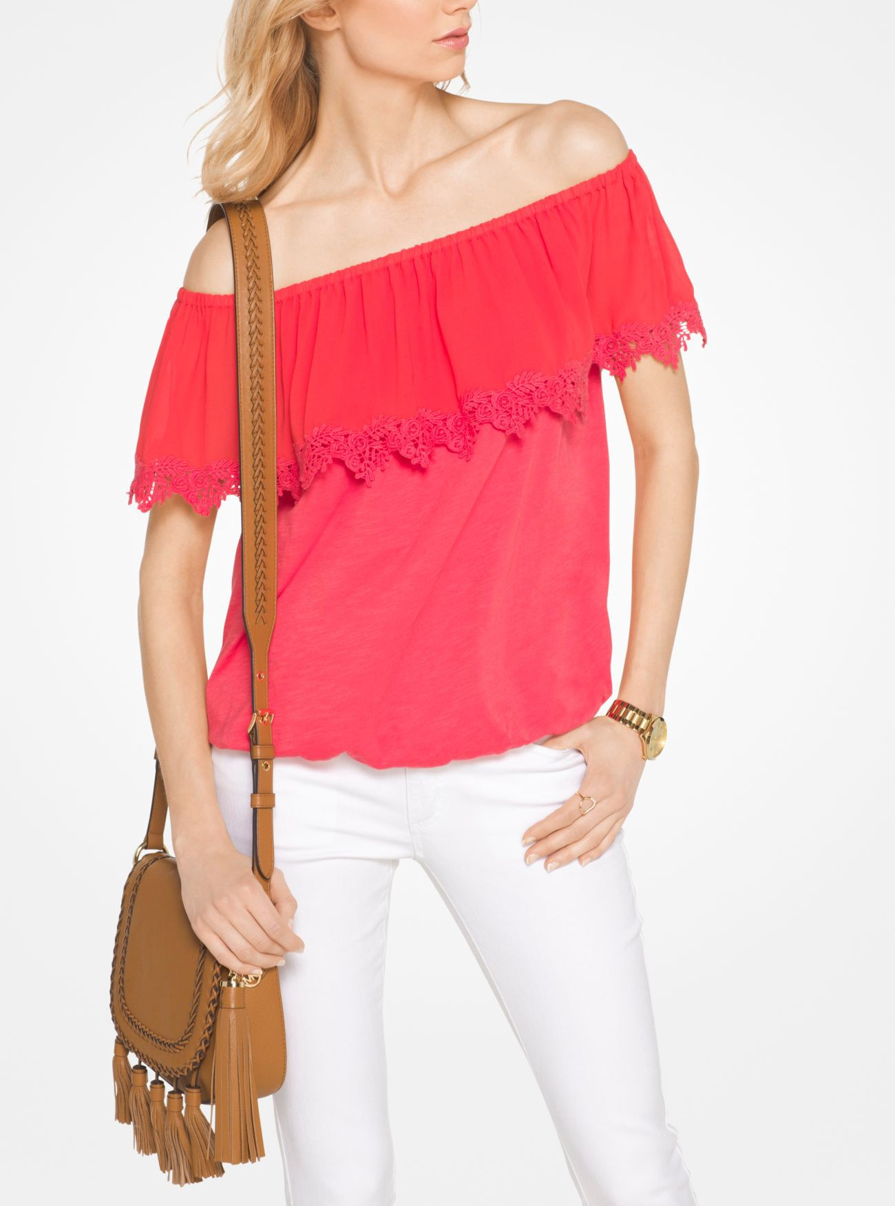 MICHAEL KORS Cotton Off-The-Shoulder Top in Sangria