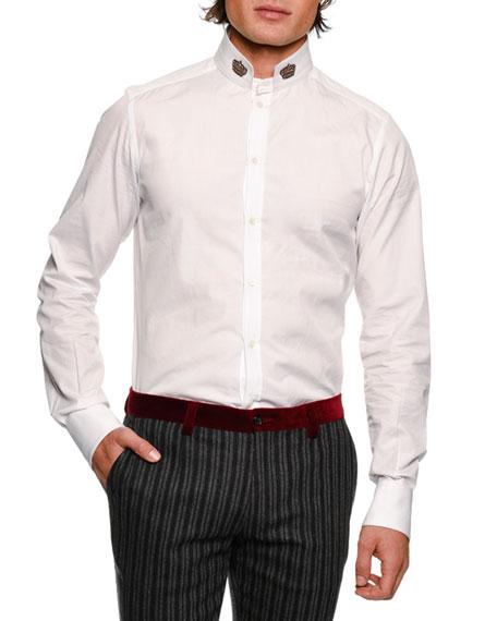 DOLCE & GABBANA Crown-Collar Cotton Shirt, White