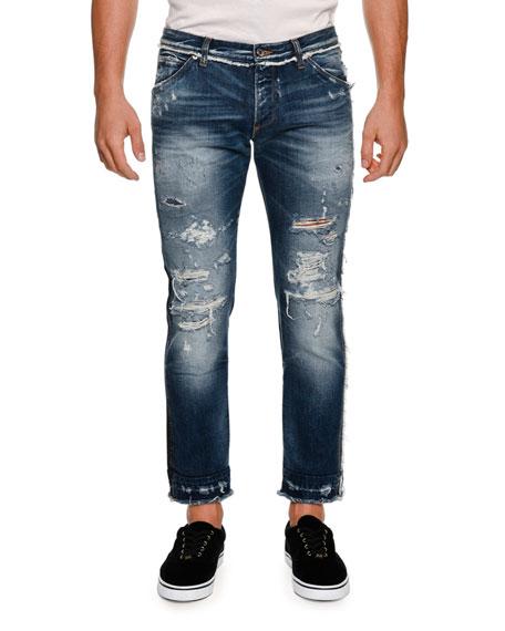 DOLCE & GABBANA Paneled Distressed Straight-Leg Jeans, Medium Blue