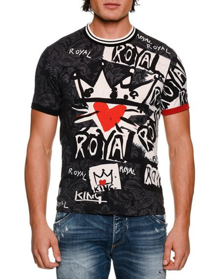 DOLCE & GABBANA Royal Graffiti Cotton T-Shirt, Black