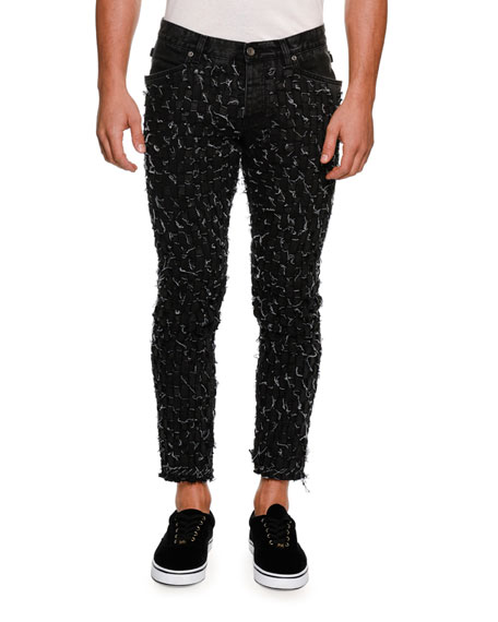 DOLCE & GABBANA Distressed Woven Slim Ankle Jeans, Black