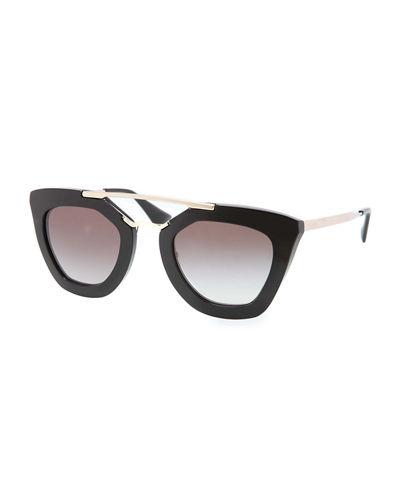 PRADA Square Brow-Bar Sunglasses, Black Metallic