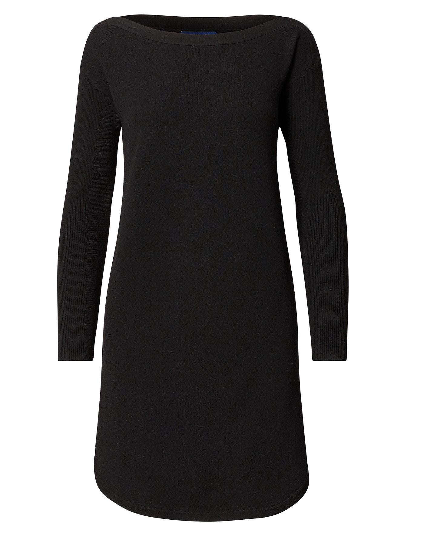 POLO RALPH LAUREN Merino Wool Shift Dress in Black