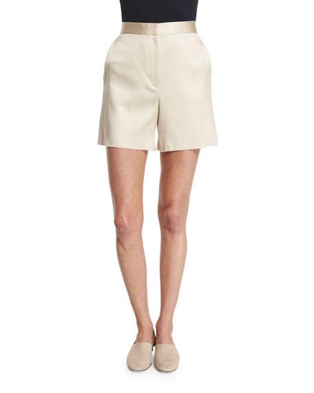 THE ROW Shors High-Waist Slim-Leg Shorts, Alabaster