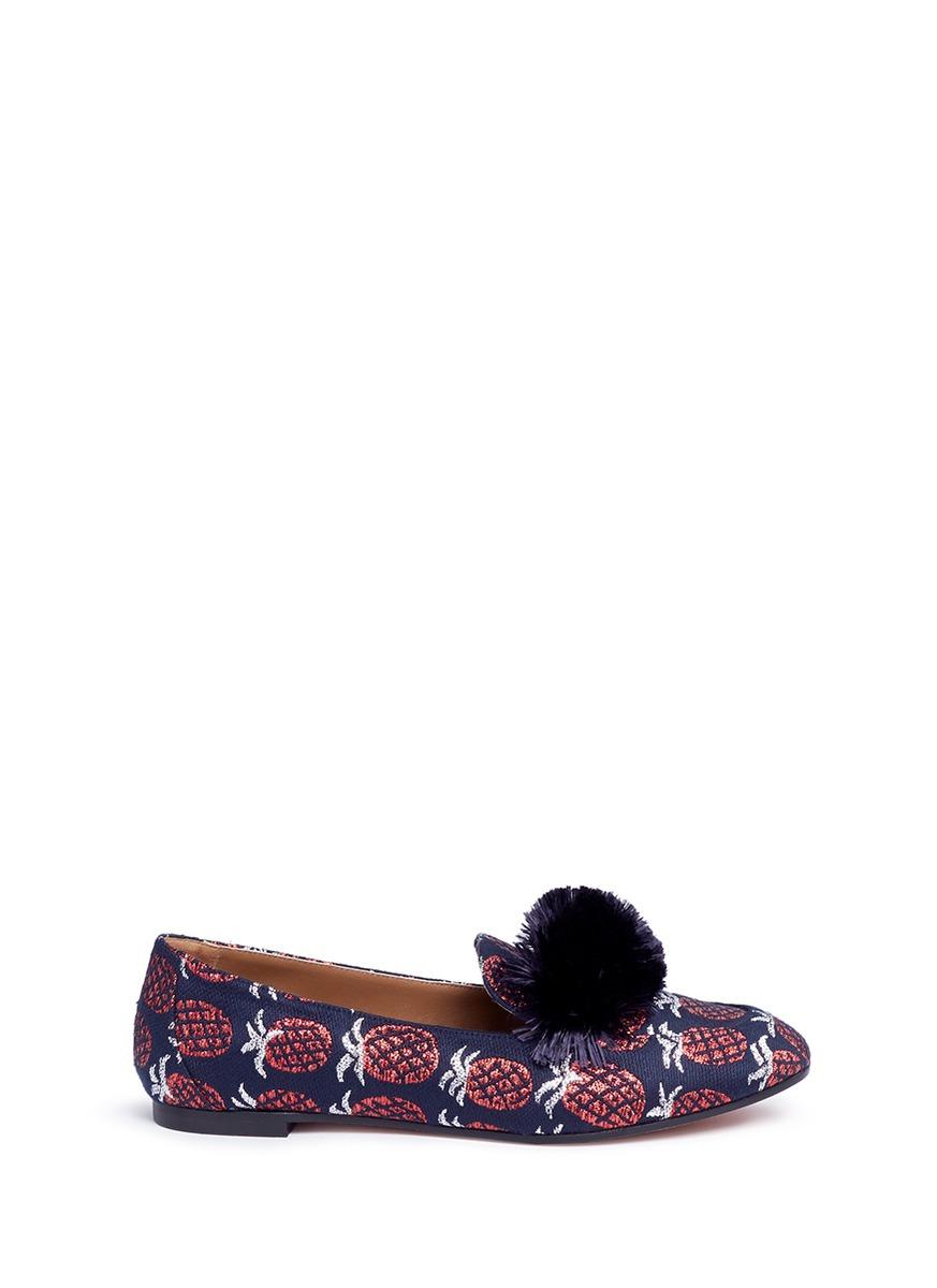 AQUAZZURA 'Wild' Pompom Pineapple Jacquard Loafers in Ink