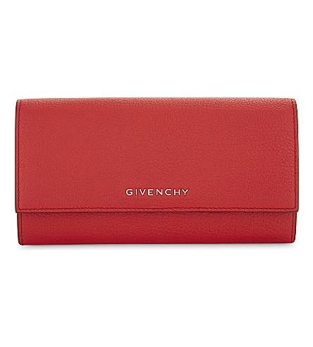GIVENCHY Grained Leather Long Wallet in Red