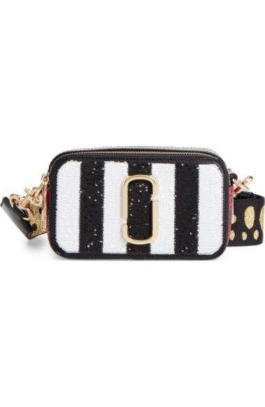 MARC JACOBS Sequin Stripe Snapshot Crossbody Bag in Black Multi