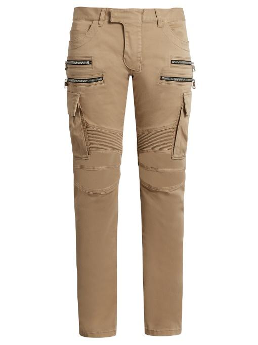 BALMAIN Biker Double-Zip Slim-Leg Trousers in Colour: Beige-Brown