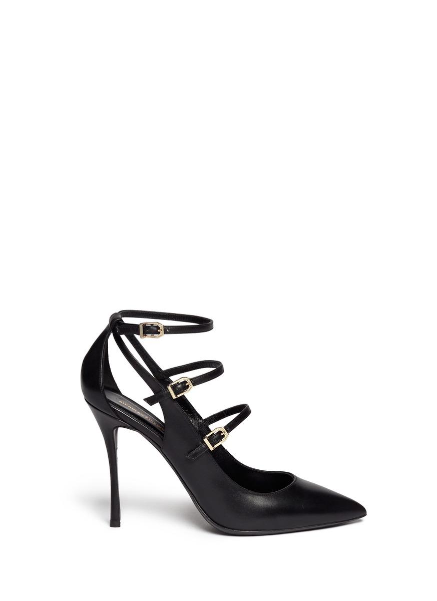 NICHOLAS KIRKWOOD Black Multi Strap Leather Heels at Lane Crawford