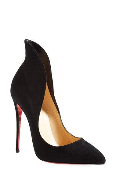 CHRISTIAN LOUBOUTIN Mea Culpa Flared Suede Red Sole Pump, Black at Nordstrom