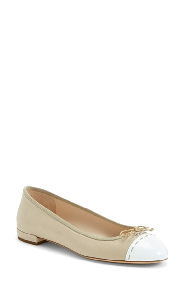 PRADA Rope And White Canvas Cap Toe Ballet Flats in Corda / White