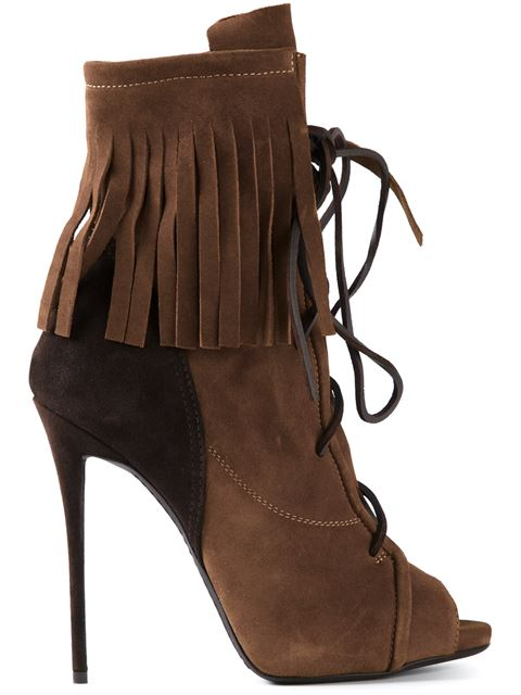 GIUSEPPE ZANOTTI Fringed Suede Ankle Boots at Farfetch