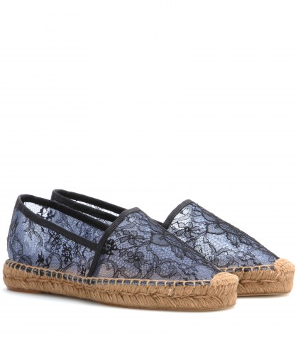 DOLCE & GABBANA Floral Lace Espadrilles in Very Light Llue