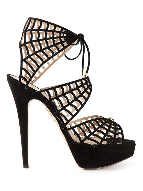 CHARLOTTE OLYMPIA Caught In Charlotte'S Web Embellished Lace-Up Suede Sandals in Black